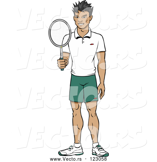 Vector of Happy Asian Tennis Player Guy Holding a Racket