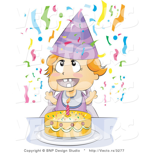 Vector of Happy Baby Birthday Party with Cake and Streamers