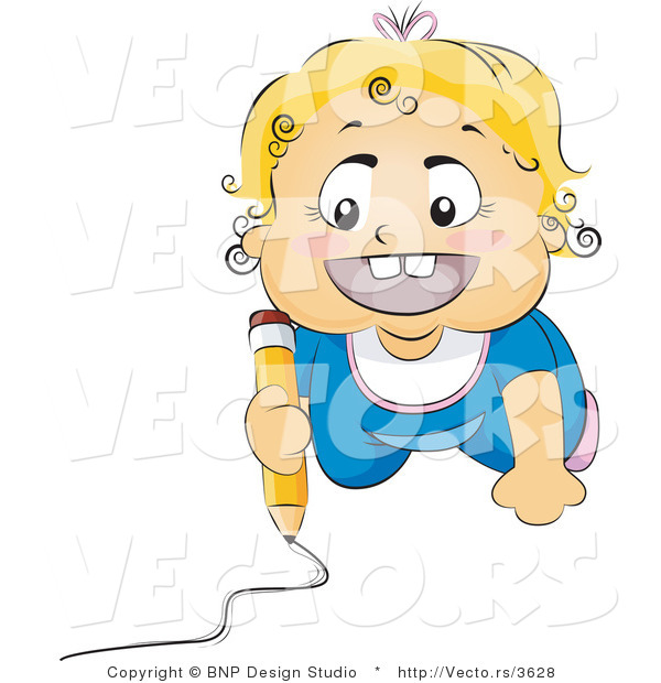 Vector of Happy Baby Drawing Picture on a Floor