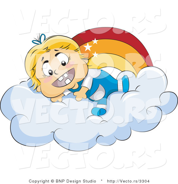 Vector of Happy Baby Girl Laying on a Cloud Beside a Rainbow