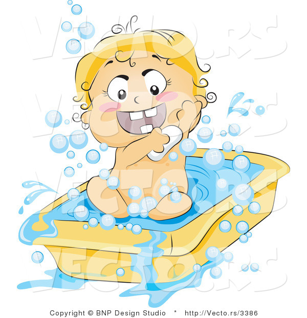 Vector of Happy Baby Soaping up in a Tub
