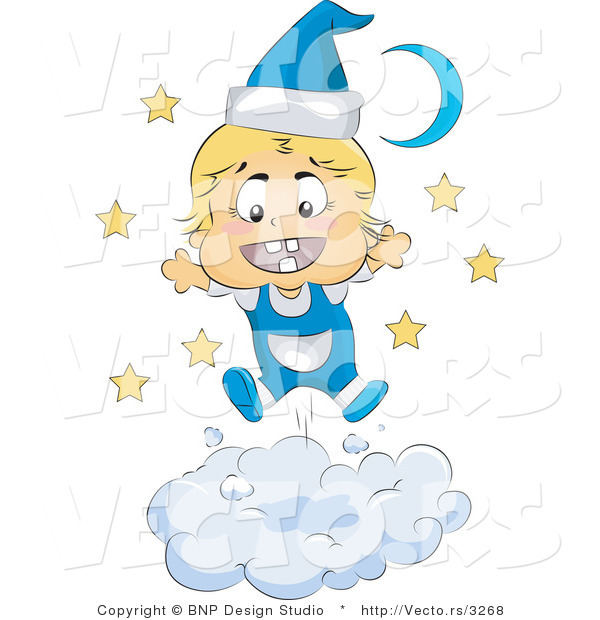 Vector of Happy Baby Wearing Blue Pajamas on a Cloud