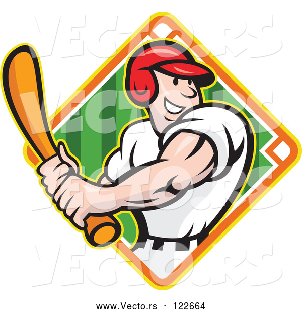 Vector of Happy Baseball Player Batting over a Field Diamond 2