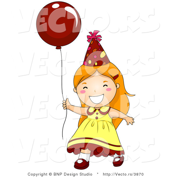 Vector of Happy Birthday Girl Running with Red Balloon