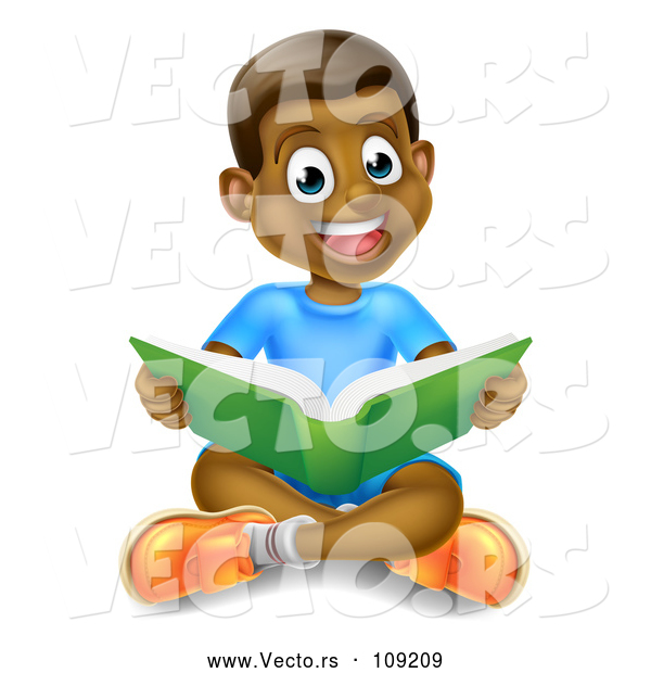 Vector of Happy Black Boy Sitting on the Floor and Reading a Book