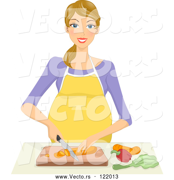 Vector of Happy Blond Pregnant Woman Chopping Veggies