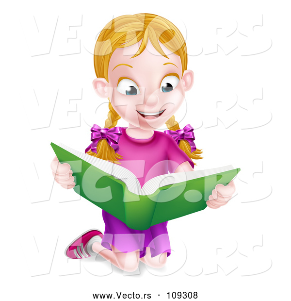 Vector of Happy Blond White School Girl Kneeling and Reading a Book