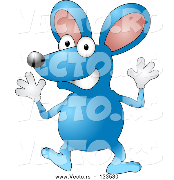 Vector of Happy Blue Mouse Wearing Gloves and Doing Jazz Hands