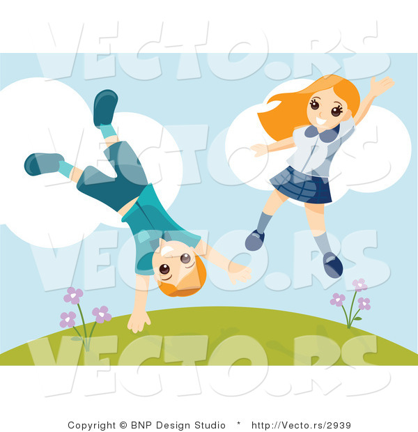 Vector of Happy Boy and Girl Jumping Around and Doing Cartwheels on a Hill