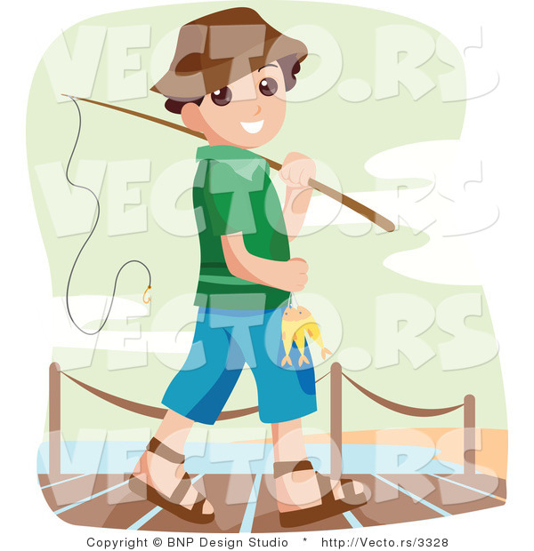 Vector of Happy Boy Going Fishing