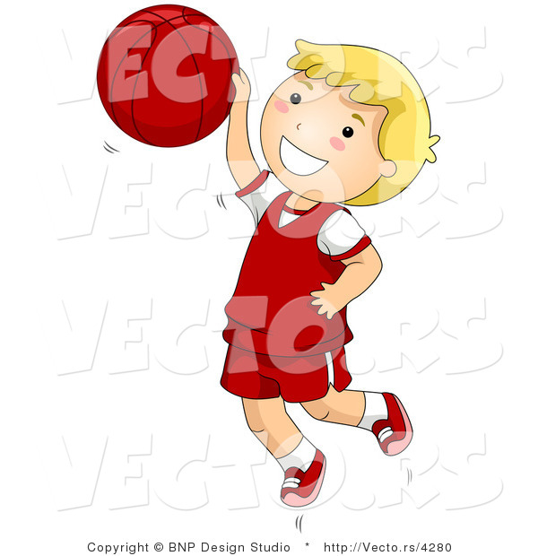 : Vector of Happy Boy Jumping with Basketball