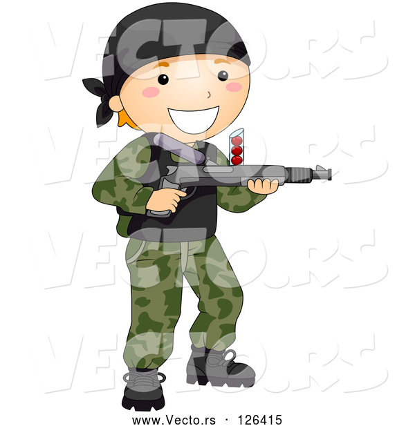 Vector of Happy Boy Playing Paintball