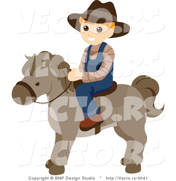: Vector of Happy Boy Riding a Pony