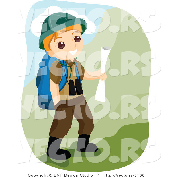 Vector of Happy Boy Scout Hiking in the Mountains