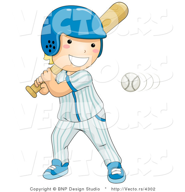Vector of Happy Boy Swinging at Baseball