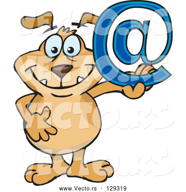 Vector of Happy Brown Dog Holding up a Blue Arobase Email Sign