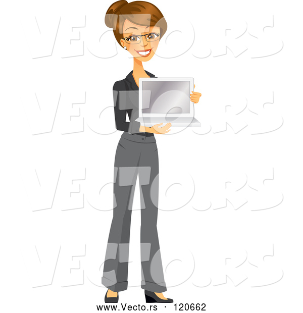 Vector of Happy Brunette Businesswoman Holding a Laptop