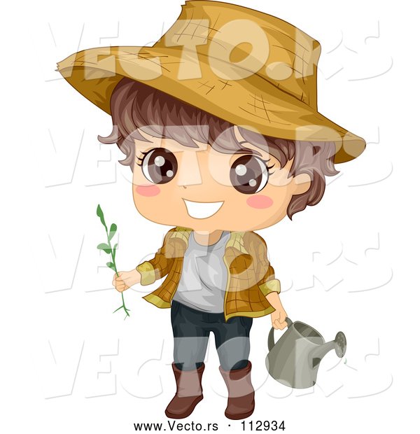 Vector of Happy Brunette White Boy Wearing a Sun Hat and Gardening with a Watering Can