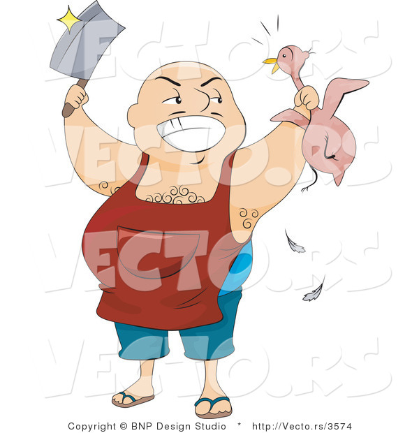 Vector of Happy Butcher Man Holding Knife and Chicken
