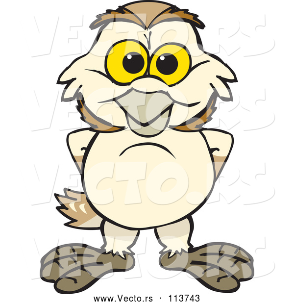 Vector of Happy Cartoon Barn Owl