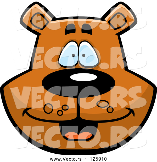Vector of Happy Cartoon Bear Face