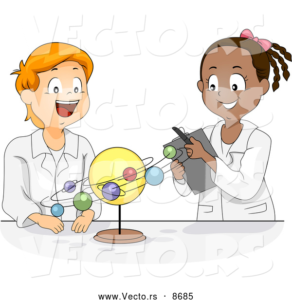 Vector of Happy Cartoon Black and White Students Studying the Solar System in Science Class