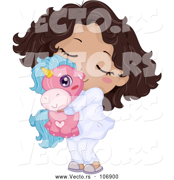 : Vector of Happy Cartoon Black Girl in Her Pajamas, Hugging a Unicorn Toy