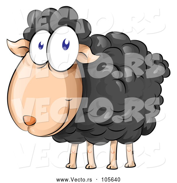 Vector of Happy Cartoon Black Sheep