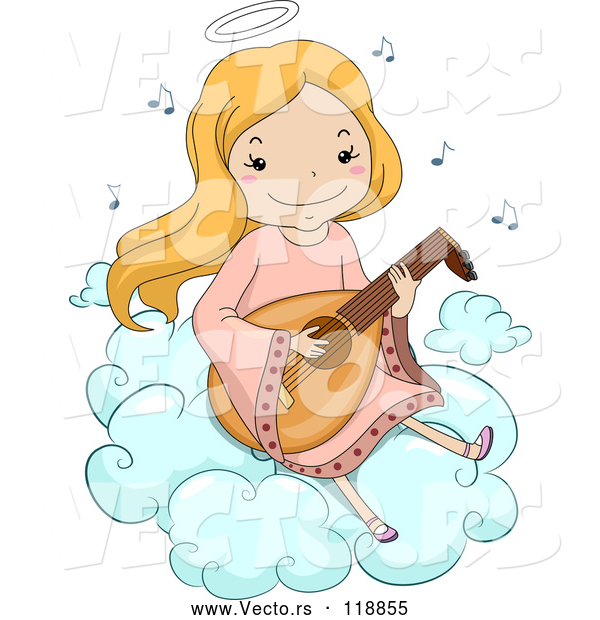Vector of Happy Cartoon Blond Angel Girl Playing a Lute on a Cloud