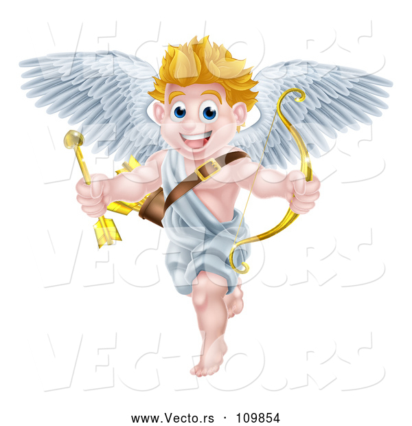 Vector of Happy Cartoon Blond White Valentines Day Cupid Holding a Gold Heart Arrow and Bow