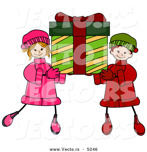 Vector of Happy Cartoon Boy and Girl Carrying a Big Christmas Present