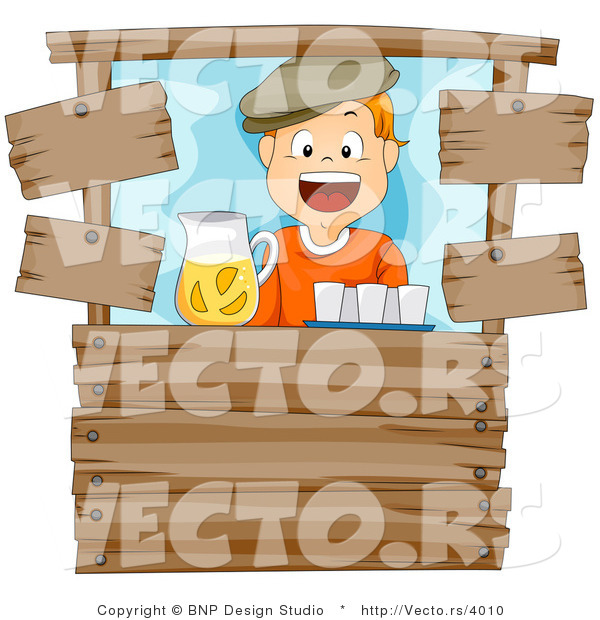 Vector of Happy Cartoon Boy Working at a Wood Lemonade Stand