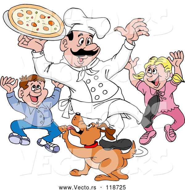 Vector of Happy Cartoon Chef Guy Holding Pizza over Excited Children and a Dog