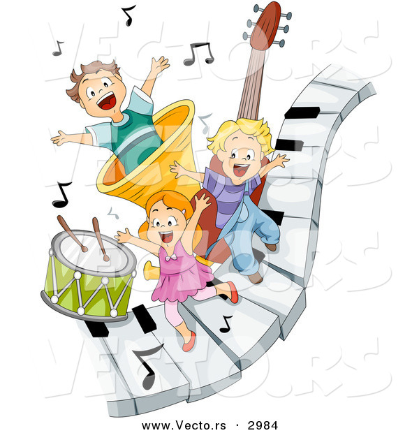 Vector of Happy Cartoon Children Playing on Piano Keys with Music Notes and Instruments