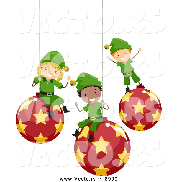 Vector of Happy Cartoon Christmas Elf Kids Sitting on Ornaments