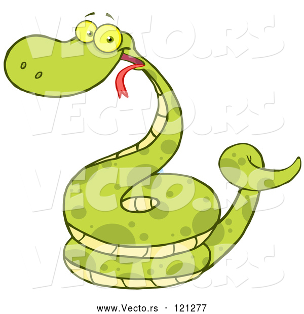 Vector of Happy Cartoon Coiled Green Snake