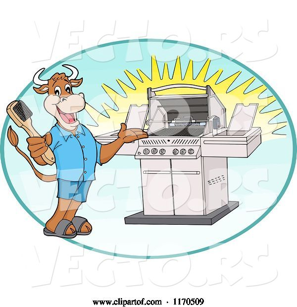 Vector of Happy Cartoon Cow Holding a Steel Brush and Presenting a Bbq Grill in an Oval