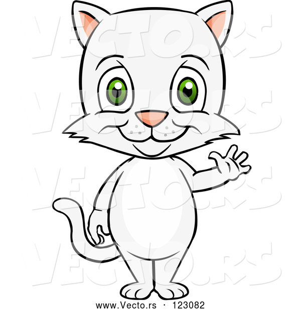 Vector of Happy Cartoon Cute White Cat Standing and Waving