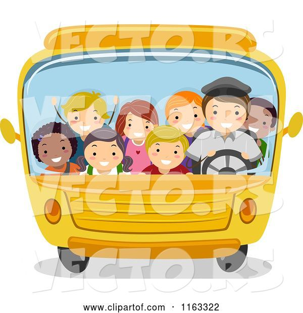 Vector of Happy Cartoon Diverse Children and a Driver in a Packed School Bus