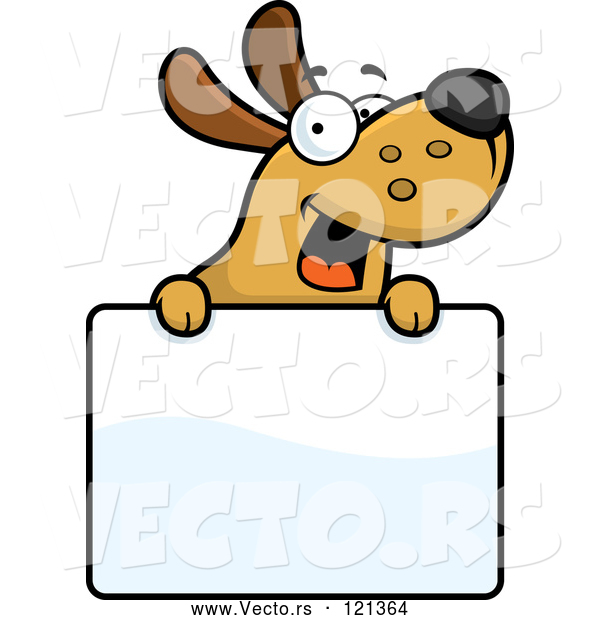 Vector of Happy Cartoon Dog over a Sign