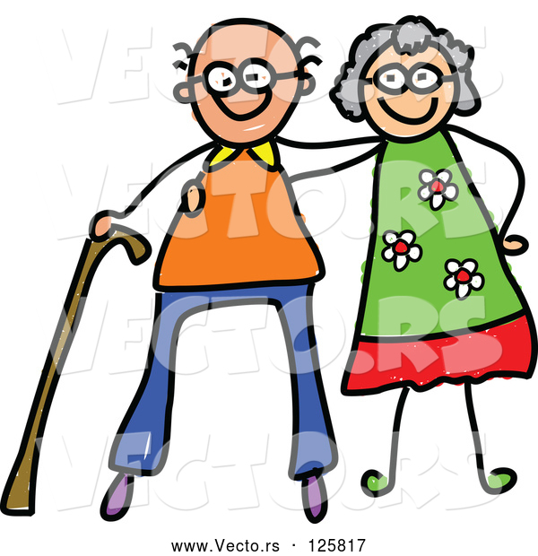 Vector of Happy Cartoon Elderly Couple