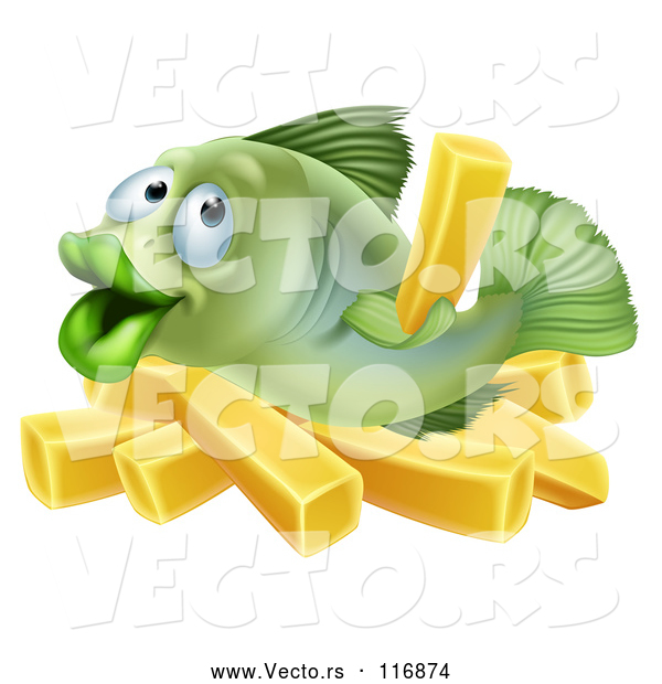: Vector of Happy Cartoon Fish with Chips French Fries