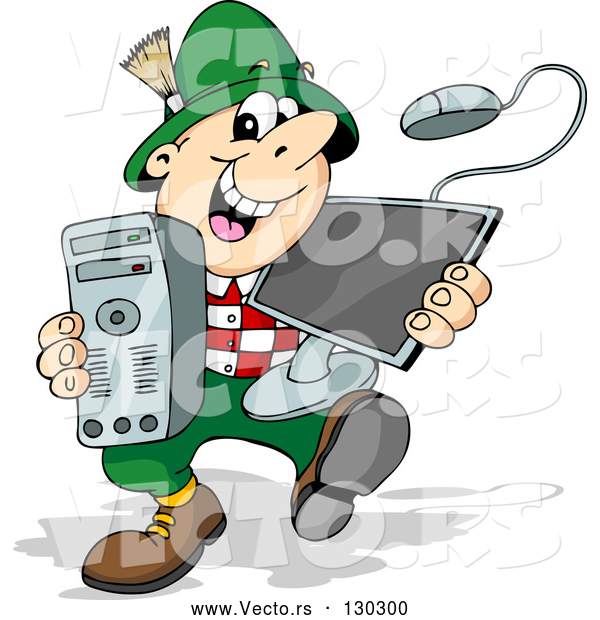 Vector of Happy Cartoon German Guy Smiling and Carrying a Desktop Computer