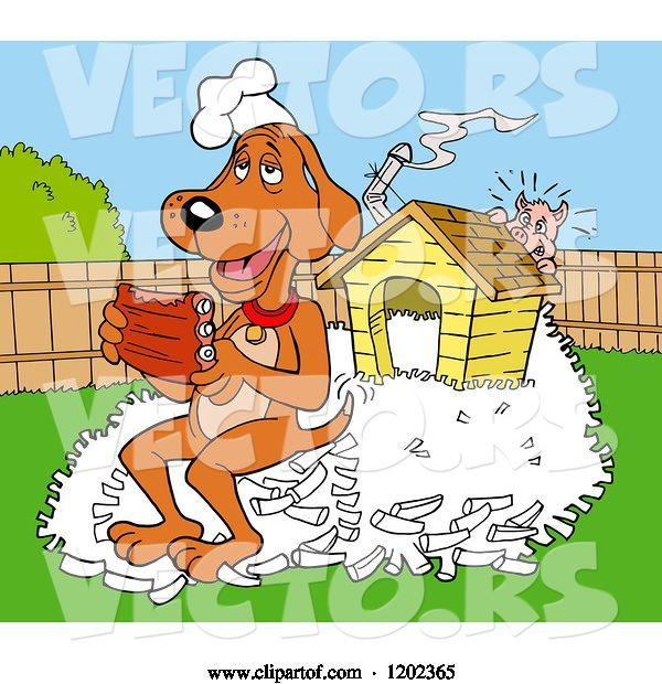 Vector of Happy Cartoon Hound Dog Chef Eating Ribs on a Pile of Bones by His House, a Pig Hiding