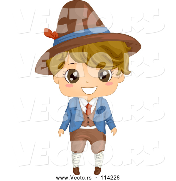Vector of Happy Cartoon Italian Boy in Traditional Clothes