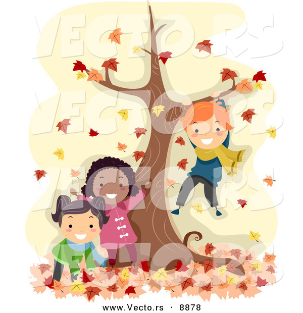 Vector of Happy Cartoon Kids Playing by a Tree with Autumn Leaves