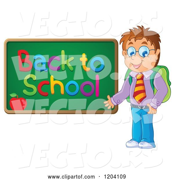 Vector of Happy Cartoon Male Student Presenting a Back to School Chalkboard