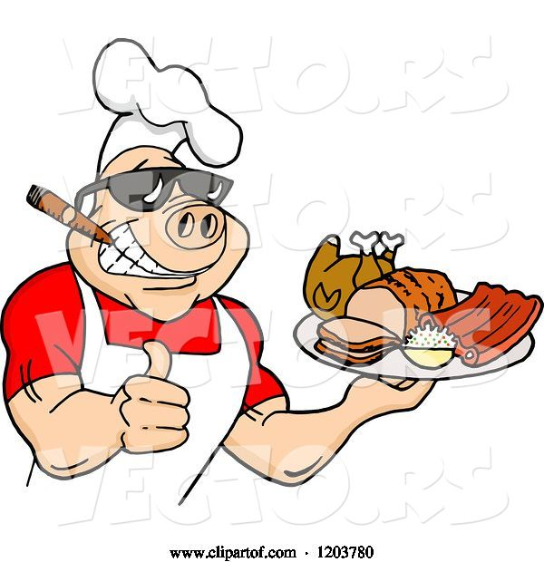 Vector of Happy Cartoon Muscular Chef Pig Wearing a Hat and Sunglasses, Smoking a Cigar, Holding a Thumb up and a Plate of Bbq Meats