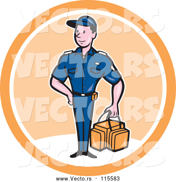 Vector of Happy Cartoon Paramedic Guy with a First Aid Kit in a White and Orange Circle