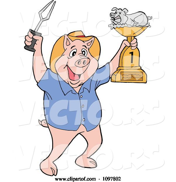 Vector of Happy Cartoon Pig Chef Holding up a Bbq Trophy Award